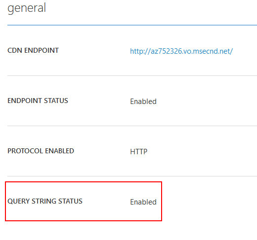 Query string support in Azure CDN