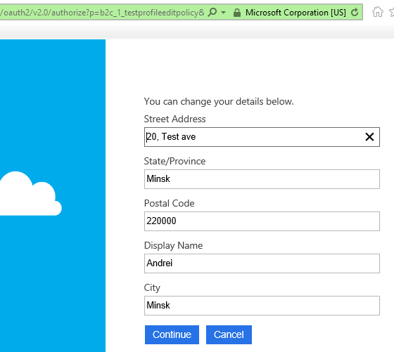 Azure AD B2C profile editing page