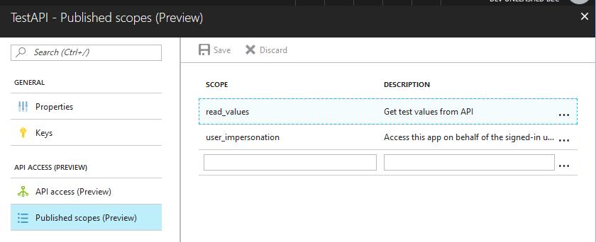 API app published scopes