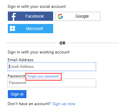 Forgot your password link on the sign-in page