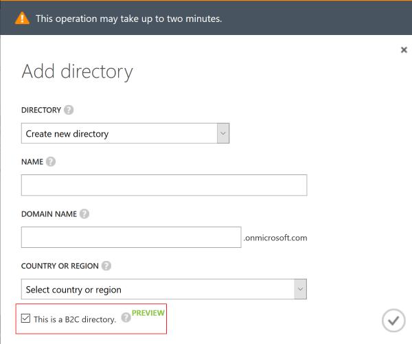 Creating an Azure AD B2C directory
