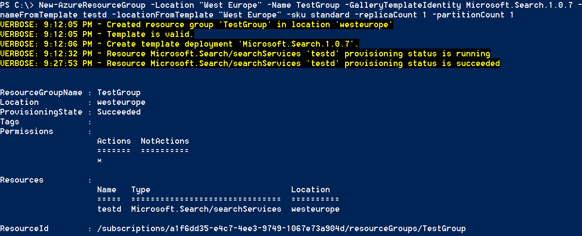 Provisining a new resource group with Azure Search service