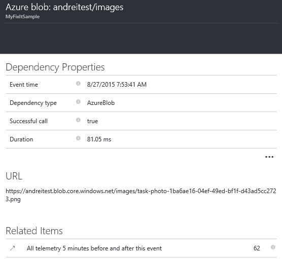 Dependency call to Azure Blob storage