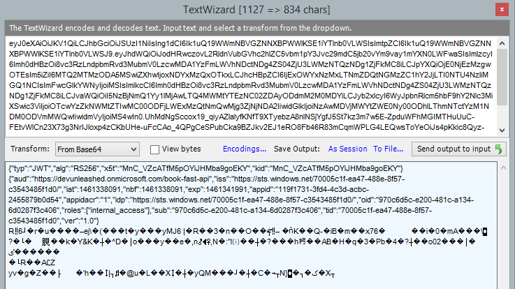 Azure AD access token decoded with Text Wizard