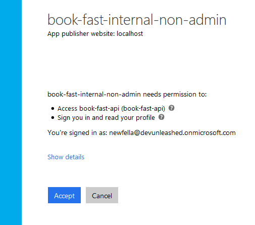 Azure AD consent page