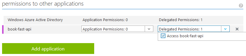 Giving the client a delegated permission to access book-fast-api