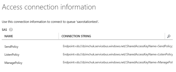 Service Bus queue authorization policy's connection strings