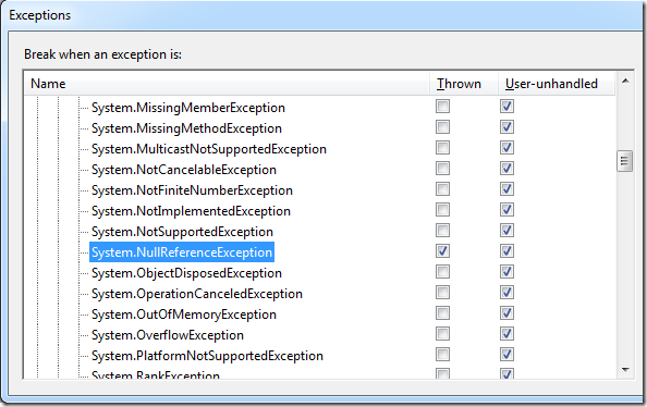 Exceptions dialog of the VS debugger
