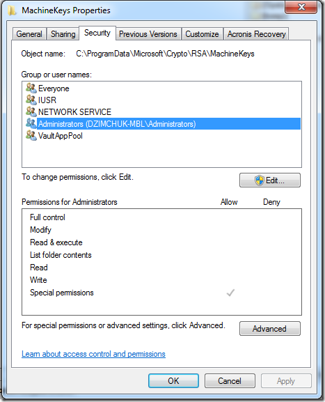 permissions to MachineKeys for Administrators