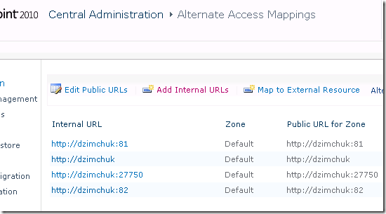 Alternate Access Mappings screen